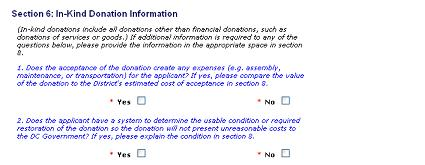 In-Kind Donations Screen Capture